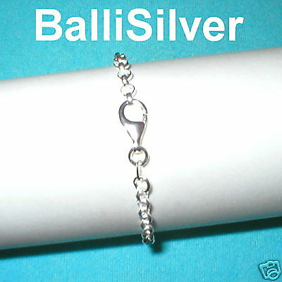 4 St Silver 3.8mm ROUND ROLO Chain STARTER BRACELETS