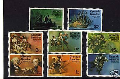 Grenada, Complete Set Of 8 To $2 ' Usa Bicent' 1975