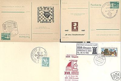 GERMANY DDR 4 POSTAL CARDS CHESS RELATED LOT # 14