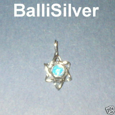 Sterling Silver 925 OPAL STAR of DAVID Charm Pendant
