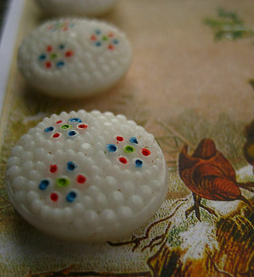 """Set of 4 Vintage 3/4""""  painted White Glass Buttons~Pre WWII ~ 1920"""