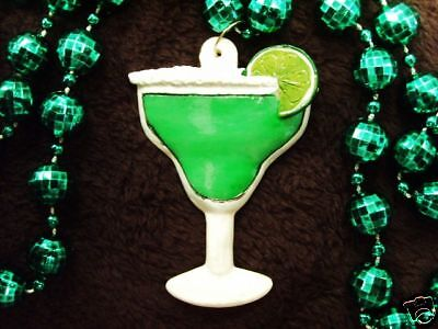 """MARGARITA GLASS"" w/LIME SALTED MARDI GRAS NECKLACE BEAD BUFFETT DRINK  (B422)"