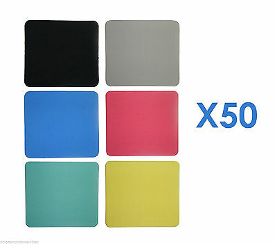 50 x Fabric Mouse Mats CHOOSE FROM 6 COLOURS