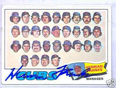 Herman Franks Chicago Cubs 1977 Topps #518 Autographed Baseball Card