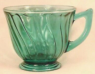 Nice SWIRL TEAL DEPRESSION GLASS CUP TEACUP Jeannette
