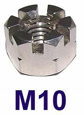 M10 Stainless Castle Nuts 10mm (Slotted Nuts, Flower Nuts, Castleated Nuts) x2
