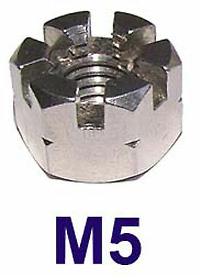 M5 Stainless Castle Nuts 5mm (Slotted Nuts, Flower Nuts, Castleated Nuts) x2
