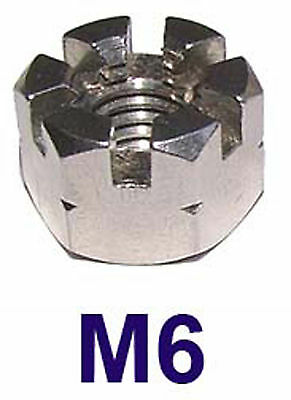 M6 Stainless Castle Nuts 6mm (Slotted Nuts, Flower Nuts, Castleated Nuts) x2