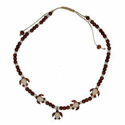 Hawaiian Jewelry Koa Wood and Buffalo Bone Honu Sea Turtle Necklace