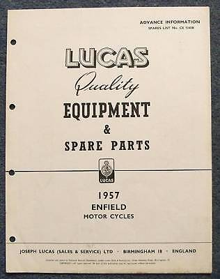 LUCAS ENFIELD Motorcycles Advance Spares List 57 #1243B