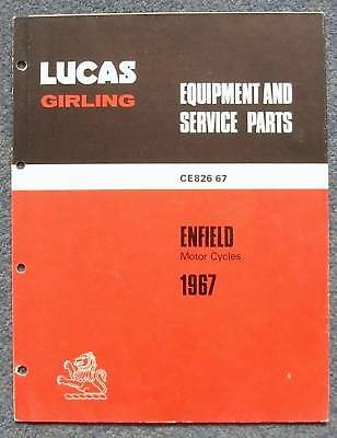 LUCAS ENFIELD Motorcycles Spares List 1967 #CE826/67