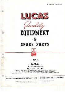 LUCAS AJS MATCHLESS Motorcycle Spares List 1958 #CE825C