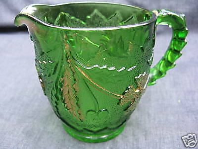 EAPG Green w/ Gold Pattern Glass Delaware Table Creamer