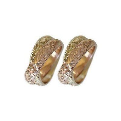 14k Gold Hawaiian Double Band Wedding Ring - Set of Two