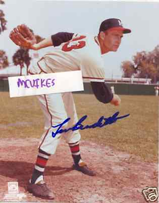 Lew Burdette 1957 Milwaukee Braves Signed 8x10 Photo #3