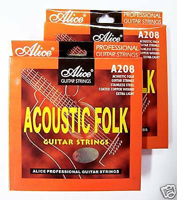 """2 SETS x ACOUSTIC GUITAR STRINGS - ALICE A208 """"QUALITY!"""