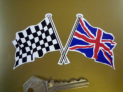 """Crossed Union Jack & Chequered Flag Car Stickers 4""""Pair Britain Race Bike Racing"""