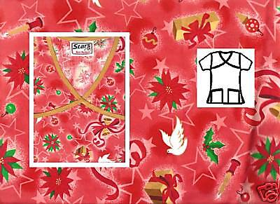 NEW Scrubs ~ Christmas Print Scrub Top W/Trim ~ M ~ Holiday Delight Red ~ # 504