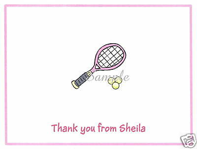 12 Thank You/Note Cards/Tennis/Racket/Racquet/Pink