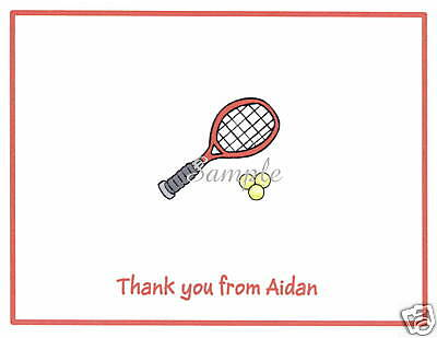 12 Thank You/Note Cards/Tennis/Racket/Racquet/Red