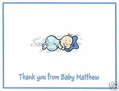 12 Personalized Note Cards/Thank You/Baby/Sleeping/Boy