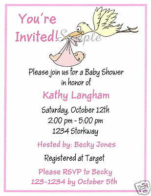 20 Personalized Invitations/Shower /Baby /Stork /Girl