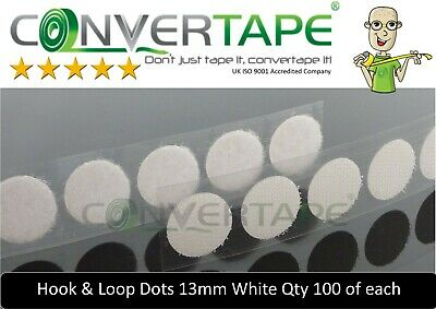 Self Adhesive Sticky Backed Hook Loop Fastener Tape Dots Circles White 13mm