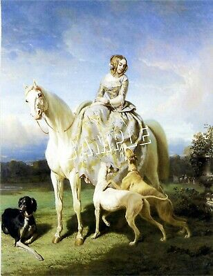 Victorian Sidesaddle Lady Greyhounds Saluki Canvas Art