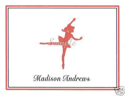 12 Custom Note Cards/Thank You/Ballet/Ballerina/Red