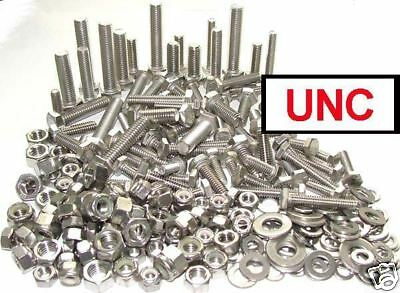 Stainless UNC Bolts / Set Screws Nuts & Washers (Hex Head 1/4, 5/16, 3/8) x200+