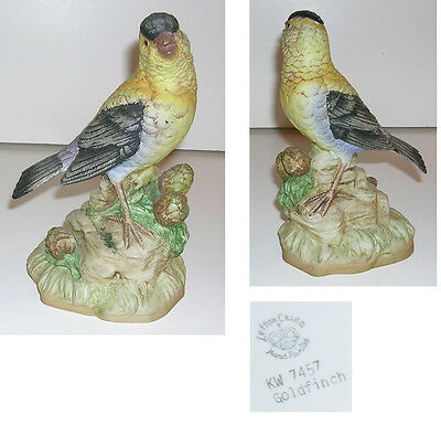 "6 1/2"" Lefton Hand Painted Goldfinch Figurine c 1983"