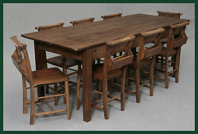 A LARGE 7FT FRENCH FARMHOUSE PINE KITCHEN/DINING TABLE
