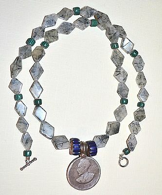 Necklace Haile Selassie Ethiopian Coin Pendant Tourmaline Included Quartz Beads