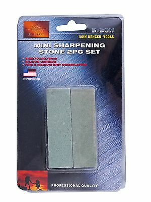 Sharpening Stone 2pc Mini Set Pocket Knife John-Benzen Sharp Pro Quality