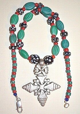 Ethiopian Coptic Metal Cross Necklace With Antique Venetian African Trade Beads