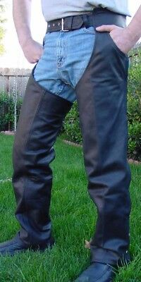 Heavy Lined Naked Leather Motorcycle Biker Chaps New