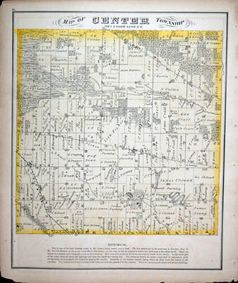 Original Map of Center WI Wisconsin 1873