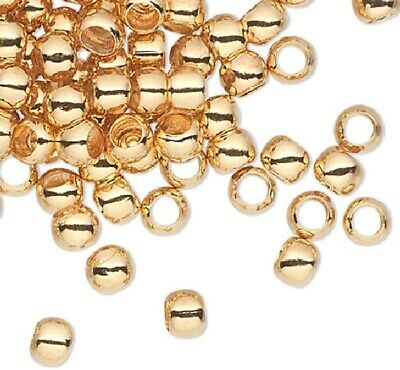 100 Gold Plated Brass Smooth 2.5mm Spacer Micro Round Beads