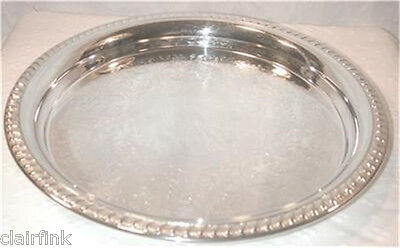 "12.5"" Round .5"" Deep Chased Gadrooned Silverplated Tray"