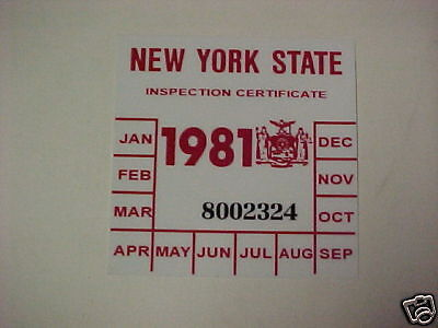 new york 1981 registration inspection sticker windshild