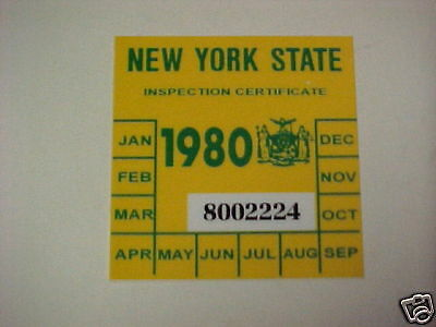 new york 1980 registration inspection sticker windshild