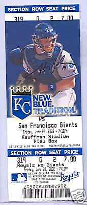 Kansas City Royals San Francisco Giants 6/20/08 Ticket