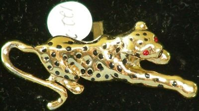 Vintage 1981 NEW Goldtone LEOPARD Cat w/Stone Eyes PIN 122