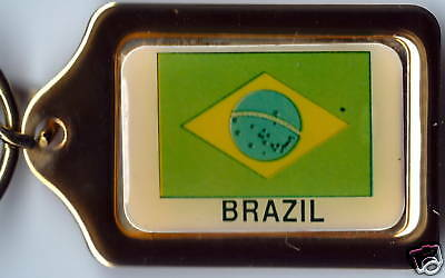 Brazil Flag Solid Brass Key Chain NEW