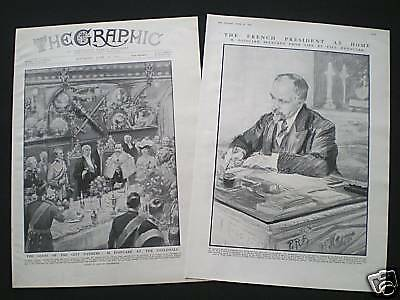 2 Old Prints - Raymond Poincare / French President 1913