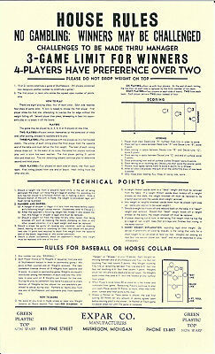 1940s COIN OP TABLE SHUFFLEBOARD GAME ADVERTISING SIGN