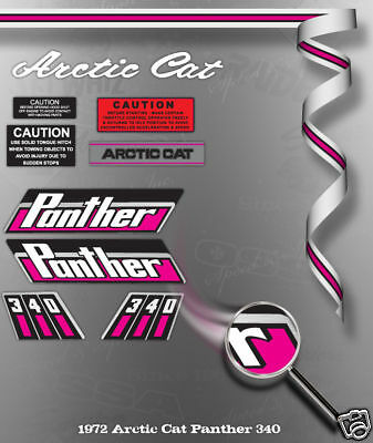 1972 ARCTIC CAT PANTHER 340 DECAL GRAPHIC KIT LIKE NOS