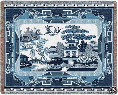 70x54 WILLOW BLUE China Asian Tapestry Throw Blanket