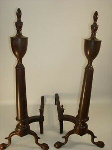 A Pair Of Brass Ball & Claw Feet Andirons Signed