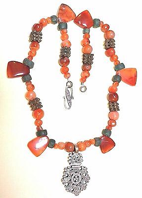 Ethiopian Christian Cross Necklace Antique Carnelian African Metal Ancient Beads